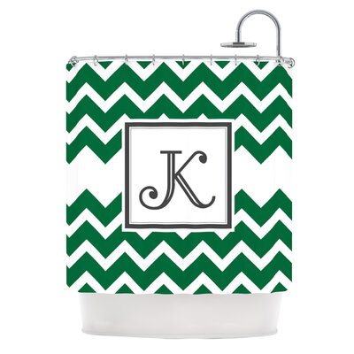Monogram Chevron Shower Curtain Color: Green