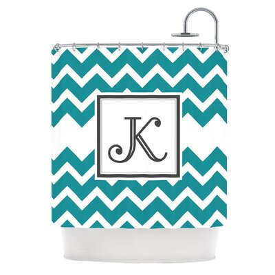 Monogram Chevron Shower Curtain Color: Teal