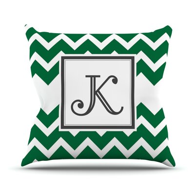 Monogram Chevron Throw Pillow Size: 18 H x 18 W x 3 D, Color: Green