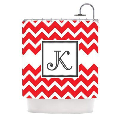 Monogram Chevron Shower Curtain Color: Red