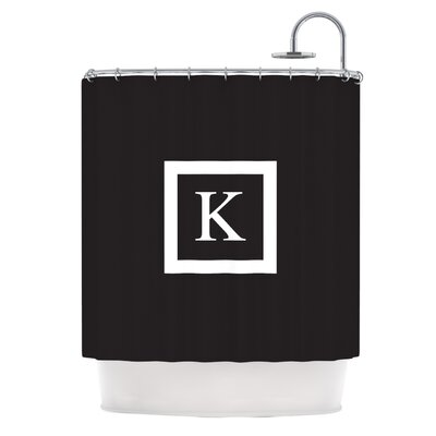 Monogram Solid Shower Curtain Color: Black
