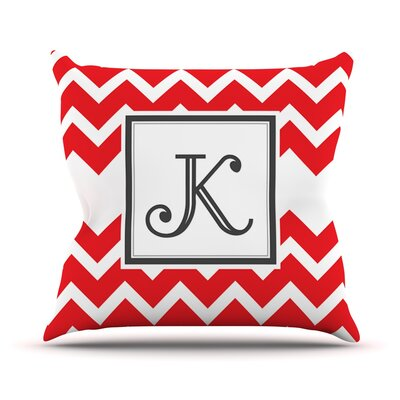 Monogram Chevron Throw Pillow Size: 18 H x 18 W x 3 D, Color: Red