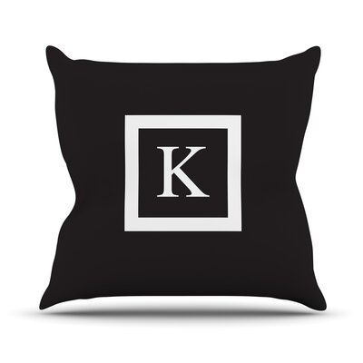 Monogram Solid Throw Pillow Size: 16 H x 16 W x 3 D, Color: Black
