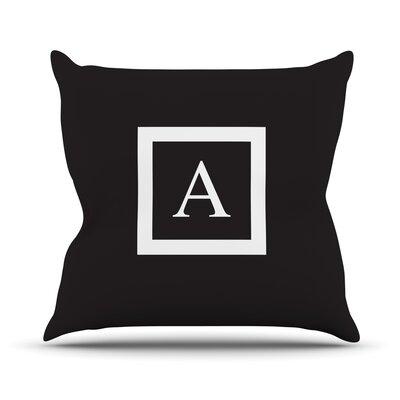 "Kess InHouse Monogram Solid Throw Pillow - Size: 16"" H x 16"" W, Color: Black, Letter: L"
