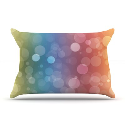 Glass Bokeh Pillow Case Color: Blue/Green
