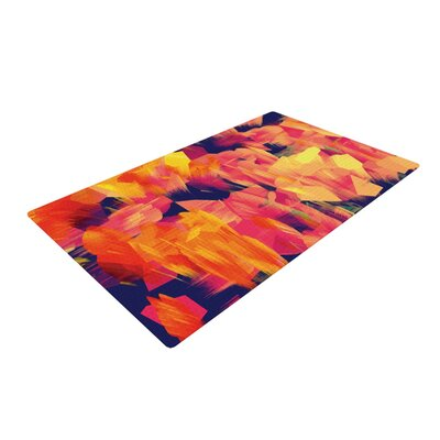 Geo Flower Orange/Red Area Rug Rug Size: 4 x 6