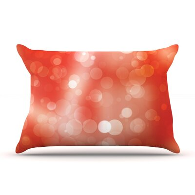 Glass Bokeh Pillow Case Color: Orange