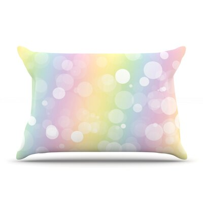 Glass Bokeh Pillow Case Color: Pink/Yellow