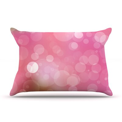Glass Bokeh Pillow Case Color: Pink