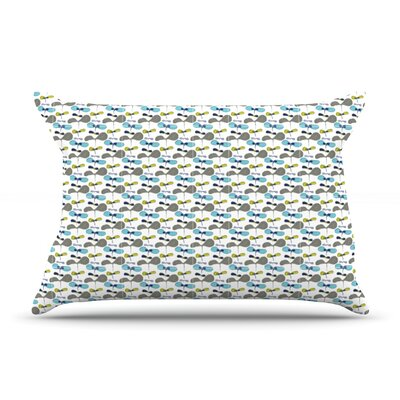 Mapleseeds Turquoise by Laurie Baars Featherweight Pillow Sham Size: Queen, Color: Blue/Yellow, Fabric: Cotton