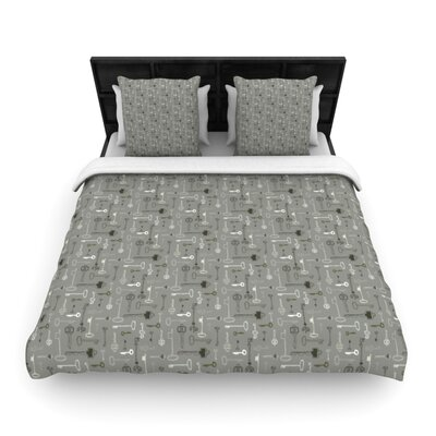 Keys Woven Comforter Duvet Cover Size: Full/Queen, Color: Gray