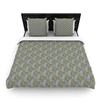 Ferns Vines Woven Comforter Duvet Cover Size: King, Color: Green