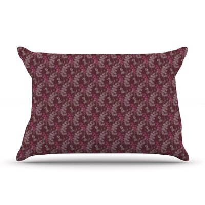 Ferns Vines Green by Laurie Baars Featherweight Pillow Sham Size: Queen, Color: Maroon/Bordeaux, Fabric: Woven Polyester