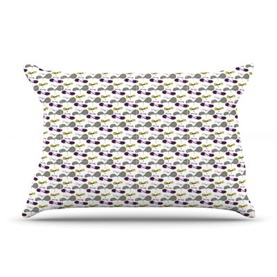 Mapleseeds Turquoise by Laurie Baars Featherweight Pillow Sham Size: Queen, Color: Plum/Yellow, Fabric: Cotton