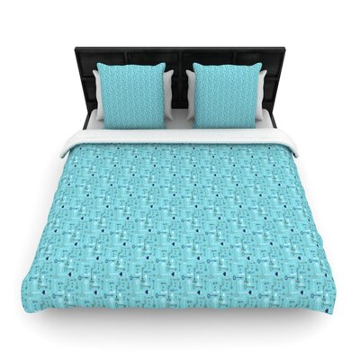Keys Woven Comforter Duvet Cover Size: Twin, Color: Blue