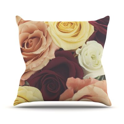 Vintage Roses Throw Pillow Size: 18 H x 18 W