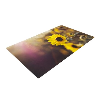 Libertad Leal Magic Light Flower Yellow/Black Area Rug