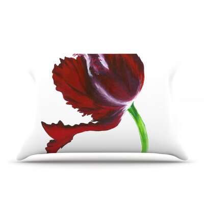 Dark Purple Tulip Pillow Case Size: Standard