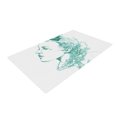 Lydia Martin Queen of the Sea White/Green Area Rug Rug Size: 2 x 3