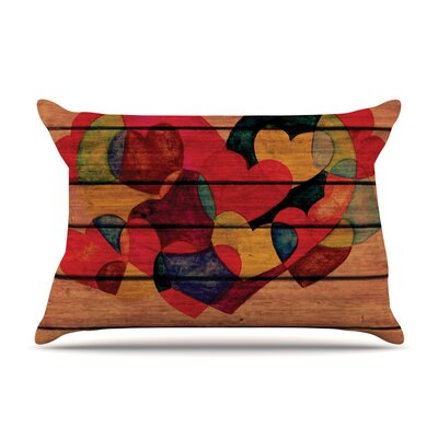 Wooden Heart Pillow Case Size: King