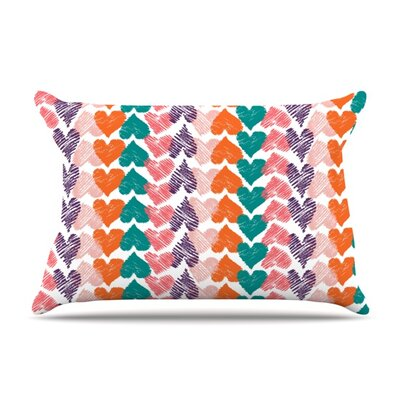 Hearts by Louise Machado Featherweight Pillow Sham Size: King, Fabric: Woven Polyester
