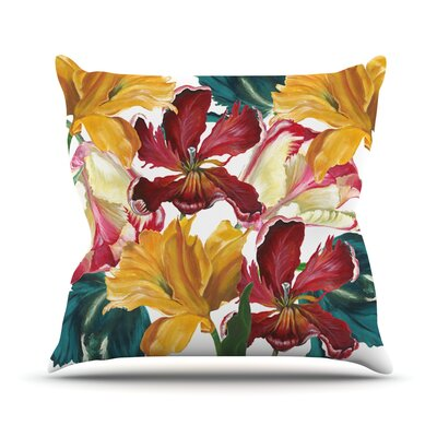 Flower Power by Lydia Martin Floral Rainbow Throw Pillow Size: 18 H x 18 W x 3 D