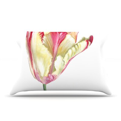 Red Tip Tulip Pillow Case Size: King