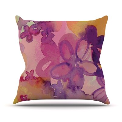 Dissolved Flowers Throw Pillow Size: 26 H x 26 W