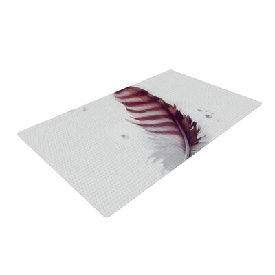 Lydia Martin The Feather White/Red Area Rug Rug Size: 2 x 3