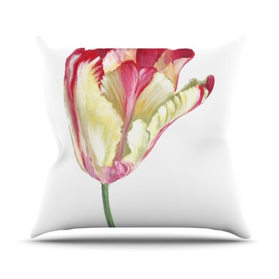Red Tip Tulip Throw Pillow Size: 26