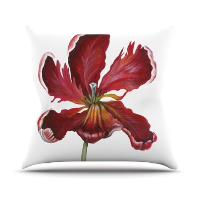 Open Tulip Throw Pillow Size: 16