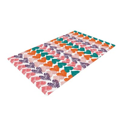 Louise Machado Hearts Pink/Purple Area Rug Rug Size: 4 x 6