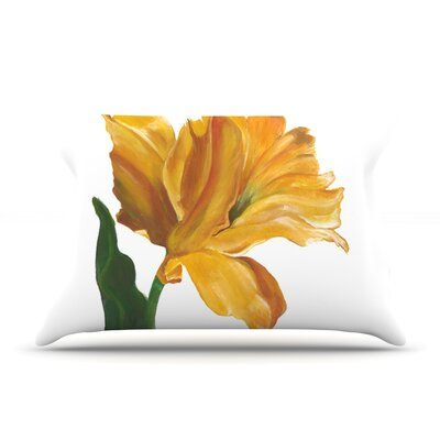 Yellow Tulip Pillow Case Size: Standard