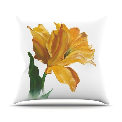 Yellow Tulip Throw Pillow Size: 18 H x 18 W
