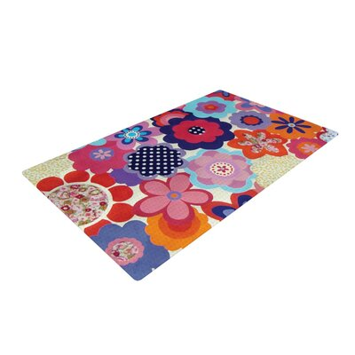 Louise Machado Patchwork Flowers Pink/Purple Area Rug Rug Size: 4 x 6