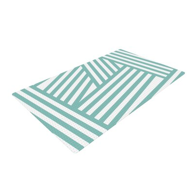 Louise Machado Stripes Aqua Area Rug Rug Size: 4 x 6