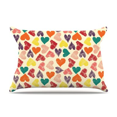 Little Hearts Pillow Case Size: Standard