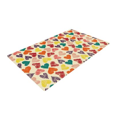 Louise Machado Little Hearts Pink/Yellow Area Rug Rug Size: 4 x 6