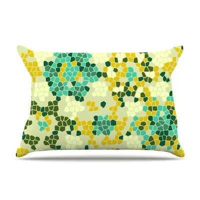 Flower Garden Mosaic by Laura Nicholson Featherweight Pillow Sham Size: Queen, Fabric: Woven Polyester