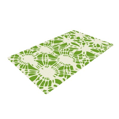 Laura Nicholson Drawnwork Green/White Area Rug
