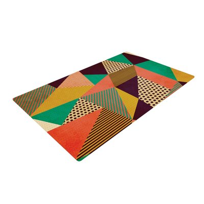 Louise Machado Geometric Love II Orange/Green Area Rug Rug Size: 2 x 3