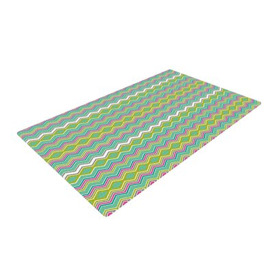 Nicole Ketchum Chevron Love Green/Pink/Yellow Area Rug