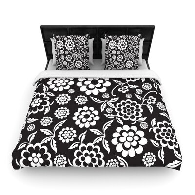 Cherry Floral Woven Comforter Duvet Cover Color: Black, Size: King