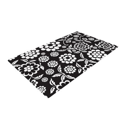 Nicole Ketchum Cherry Floral Black Area Rug Rug Size: 4 x 6