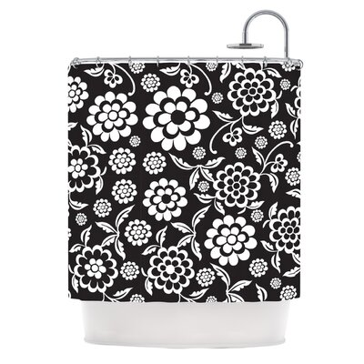 Cherry Floral Shower Curtain Color: Black