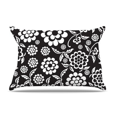 Cherry Floral Pillow Case Size: Standard, Color: Midnight