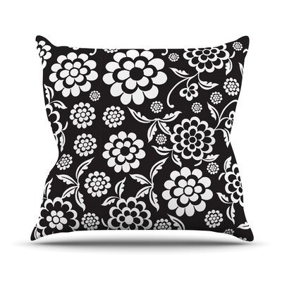 Cherry Floral Throw Pillow Size: 16 H x 16 W, Color: Black