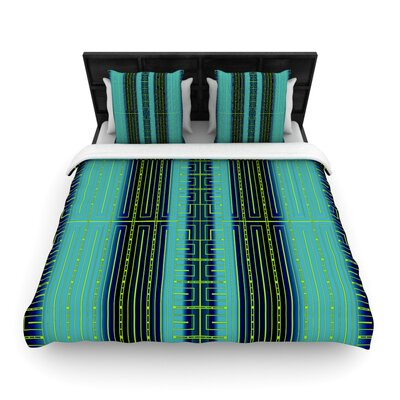 Deco City Woven Comforter Duvet Cover Size: Full/Queen, Color: Aqua