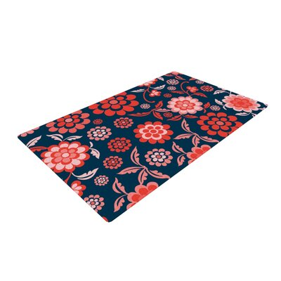Nicole Ketchum Cherry Floral Midnight Blue/Red Area Rug Rug Size: 2 x 3