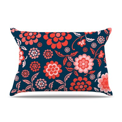 Cherry Floral Pillow Case Size: King, Color: Black